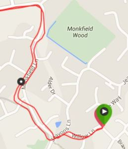 The return (tracking to the left) was accurate, but early issues meant the start of the run was not accurately recorded.